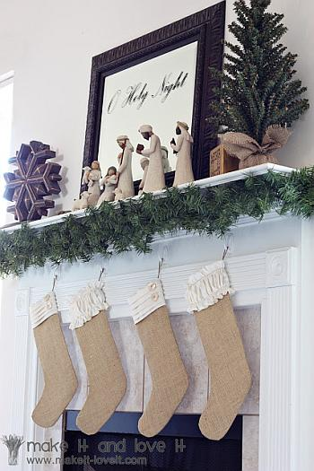 Burlap Christmas Stockings - Make It Love It