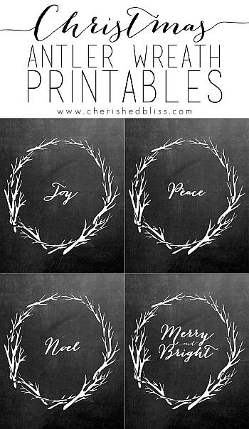 Christmas Antler Wreath Chalkboard Printables - Cherished Bliss