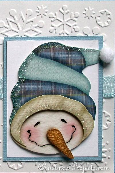 Christmas Craft - Christmas Card with Cheerful Snowman Detail