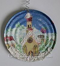 Christmas Craft - Recycling Craft - Can Lid Christmas Ornament