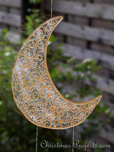 Christmas Craft - Window Cling Mobile - Moon and Stars - Moon