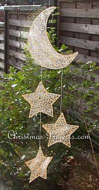 Christmas Craft - Window Cling Mobile - Moon and Stars
