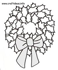 Christmas Craft Pattern - Coloring Book Page - Holly Leaf Christmas Wreath