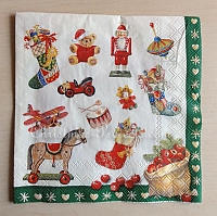 Christmas Paper Napkin With Vintage Motifs