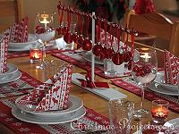 Christmas Table Decoration in Red and White Theme