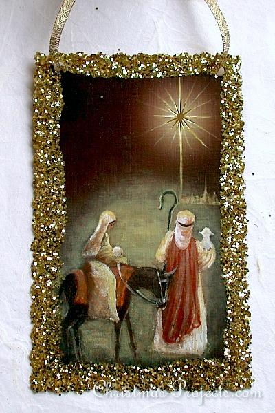 Craft Using Recycled Christmas Card - Holy Family Ornament 330