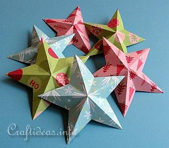 Dimensional 5-Pointed Paper Stars - Craftideas