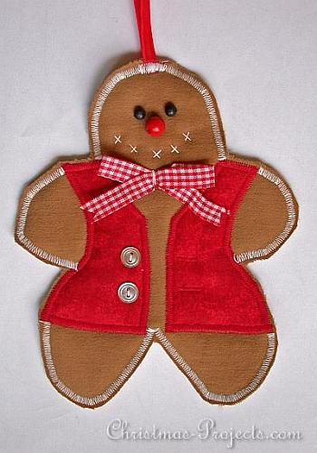 Fabric Gingerbread Man Ornament - Christmas Projects