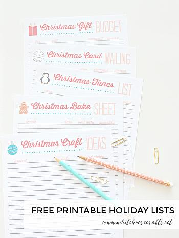 Free Printable Holiday Lists - White House Crafts