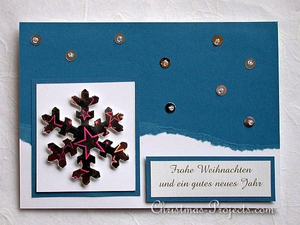 alpine regions of germany covered with snow filled landscapes were inspirations for this card sequins and beads are sewn onto the card to give it some - Christmas Card Examples