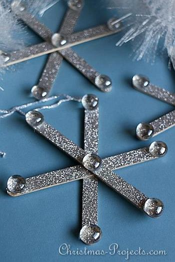 Glitter Craft Stick Snowflakes - Christmas Projects