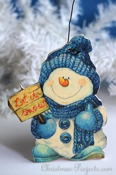 free christmas craft napkin applique wooden snowman craft