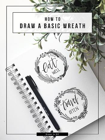 How to Draw a Basic Wreath - Drawn to DIY