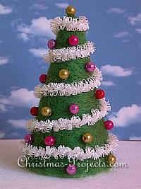 Needle Felting on Styrofoam - Christmas Tree