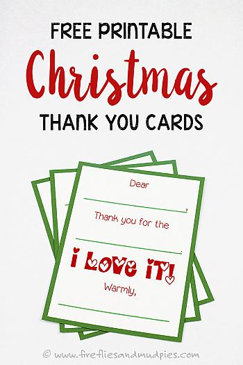 Printable Christmas Thank You Cards - Fireflies and Mudpies