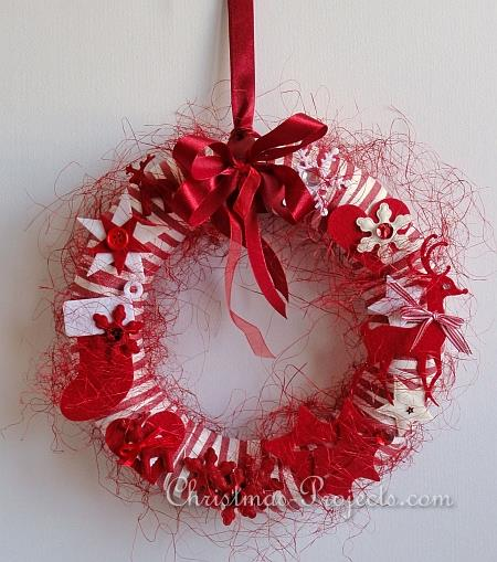 Red and White Christmas Wreath 1