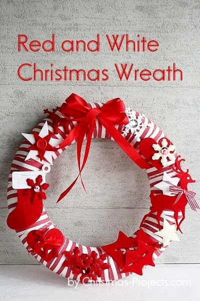 Red and White Christmas Wreath Without Angel Hair