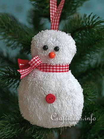 Washcloth Snowman Ornament - Craftideas