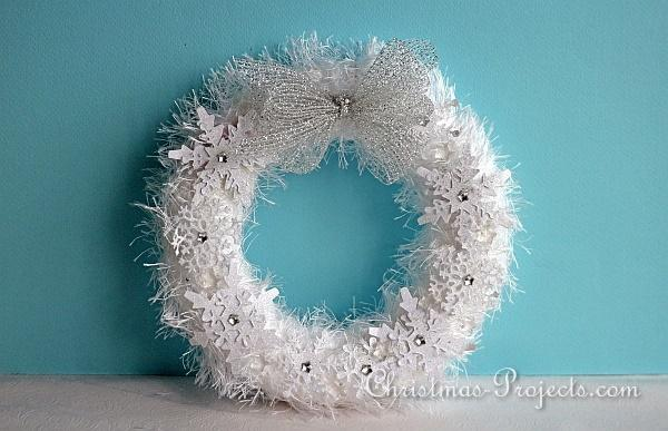 White Fuzzy Wreath With Snowflakes 3