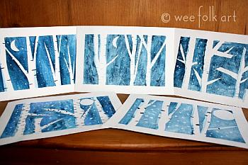 Winter Birch Trees Art - Wee Folk Art