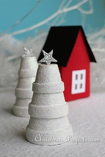 Wintery Clay Pot Trees - Christmas Projects