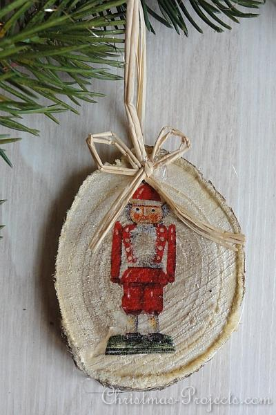 Christmas Craft Vintage Style Wood Slice Christmas Tree Ornaments
