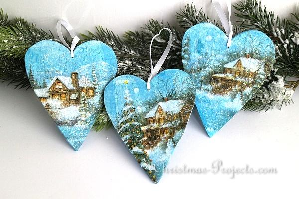 Christmas Craft , Decoupaged Wooden Heart Christmas Tree