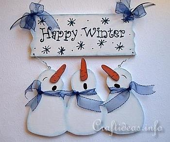 Wooden Snowman Welcome Sign - Craftideas